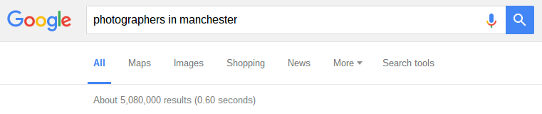 google results page showing 5 million results