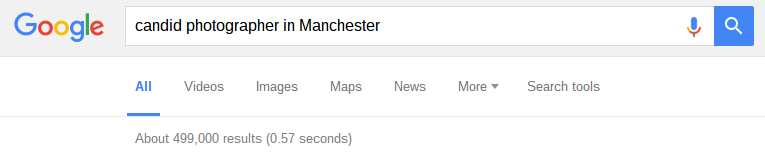 google results page showing half a million results