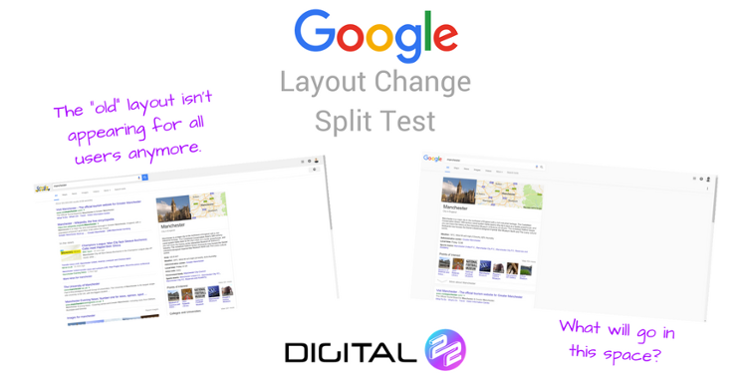 layout change split test of Google SERp