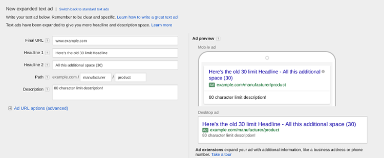 new format of adwords text ads