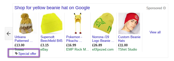 special offer google shopping