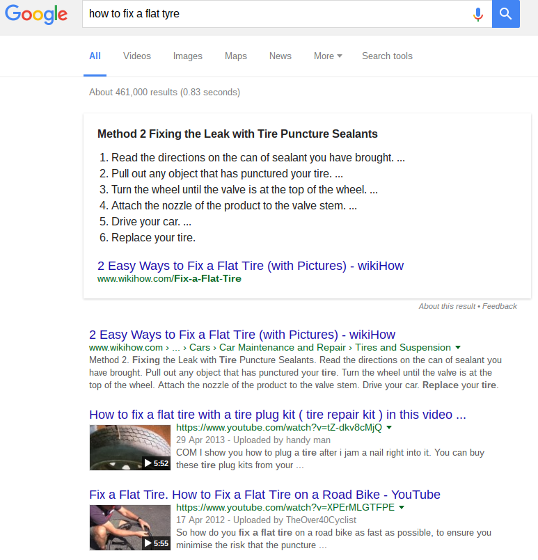 video search results in google for how to fix a flat tyre