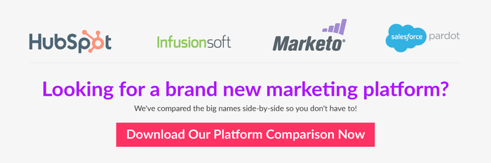 Click to compare HubSpot Infusionsoft Marketo and Salesforce pardot