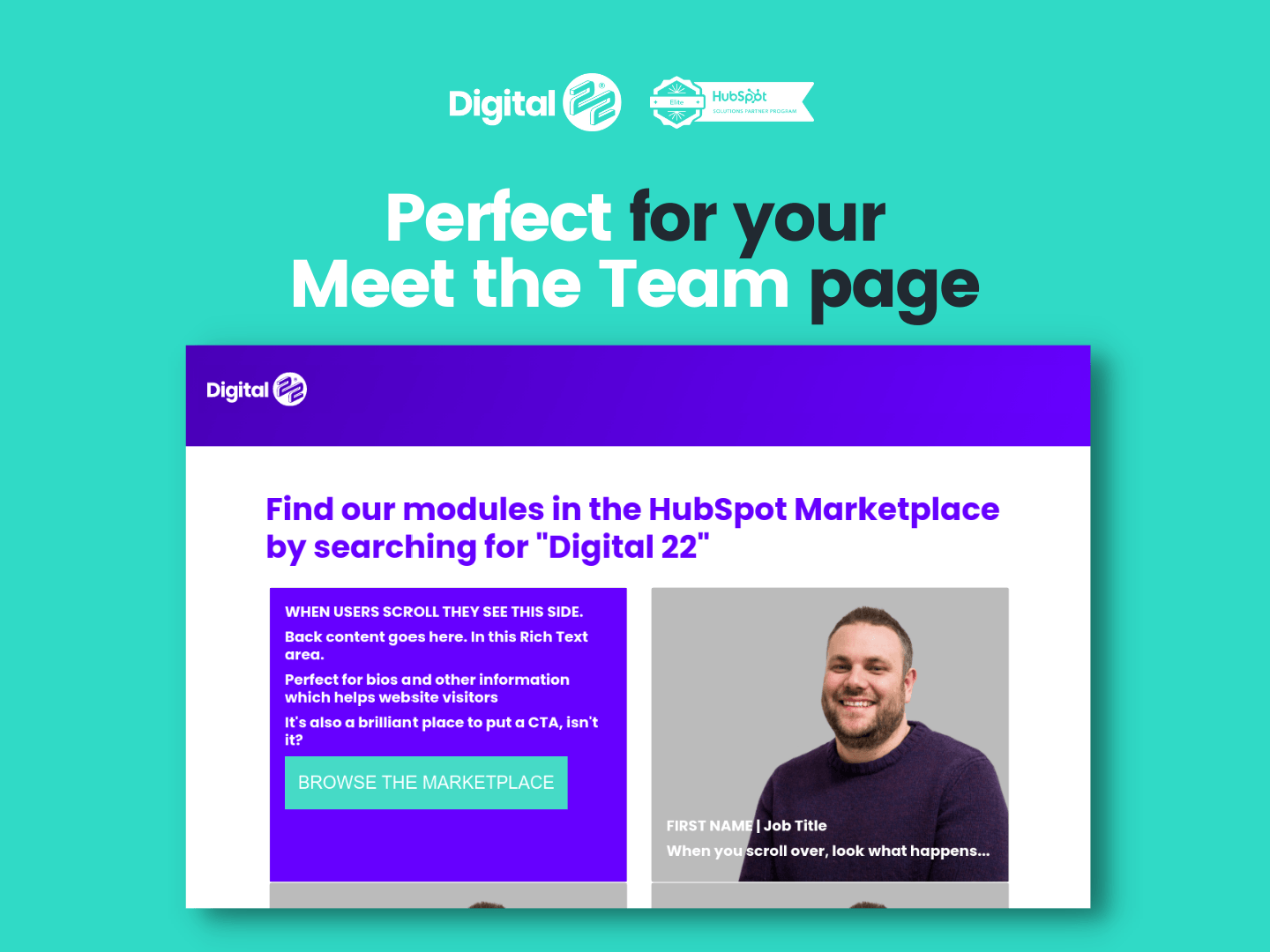 image flip card feature meet the team example