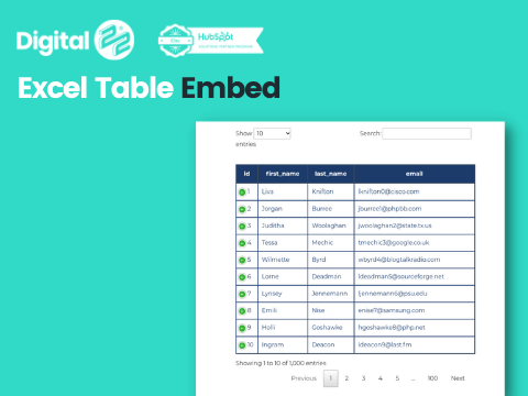 Excel Table Embed